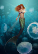 Home decor fantasy VINTAGE Mermaid Oil painting Picture Printed on canvas mry75