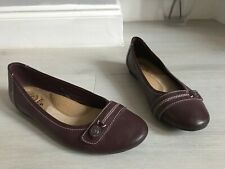 Earth Spirit Brown Leather Flat Ballet Pumps Dolly Shoes Size 5