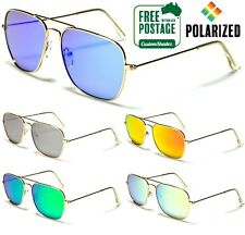 Air Force Polarised Sunglasses - Square Aviator Frame - Polarized Mirror Lens