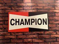 Enseigne Plaque Décorative Garage CHAMPION _60 cm x 30 cm