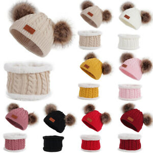 Baby Girl Boy Toddler Warm Winter Crochet Knit Hat Beanie Cap Scarf Knitwear Set