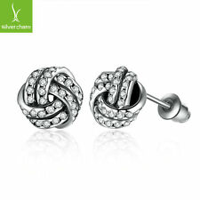 Popular Silver Plated Weave Round Small Stud Earrings For Women Fashion Earrings