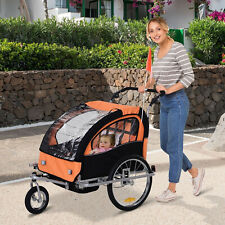 Aosom Elite 2-Seat Kid Bicycle Trailer / Jogger With Windows And Canopy, Orange