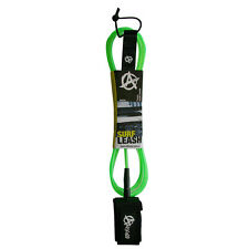 ANTICORP 7FT CL GREEN SURFBOARD LEASH LEG ROPE DBL SWVL MADE IN TAIWAN NOT CHINA