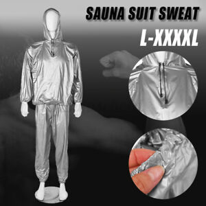 Silber Saunaanzug Sauna Suit Schwitzanzug Fitness Sport Schweissanzug Saunasuit