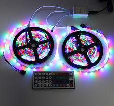 2 x 5M LED Light Strip10M 3528 SMD 600LEDs RGB+44 Key IR Remote Controller DC12V