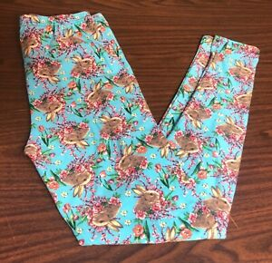 Women's Plus Size Leggings Blue w/ Rabbits & Pink Flowers Fun Print  Easter