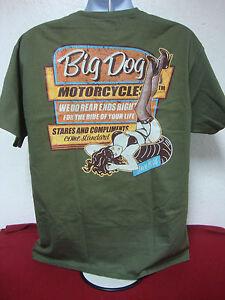 BIG DOG MOTORCYCLES VINTAGE SIGN SHIRT 2XL W/ FRONT/BACK DESIGN TAGLESS