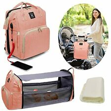 New ListingDiaper Bag Backpack Foldable Baby Bed Diaper Changing Station with Usb Pink