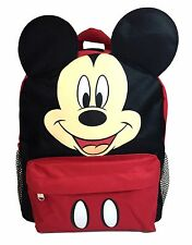 """Disney Mickey Mouse Face Back to School Backpack 12"""" Small Bag with Ear"""