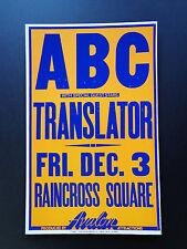 Abc - Translator Raincross Square - Original Vintage Concert Promotion Poster