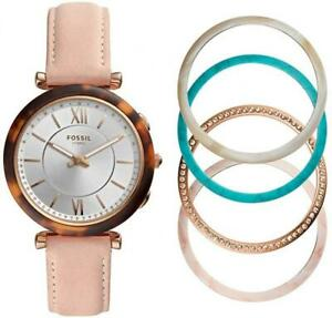 Womens Hybrid Smartwatch FOSSIL CARLIE FTW5042SET Leather Pink