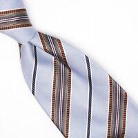Ermenegildo Zegna Mens Silk Necktie Light Blue Navy Brown Stripe Weave Tie Italy