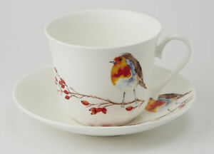Roy Kirkham Robin 450ml Large Cup & Saucer Bone China Gift Tea Coffee Chocolate