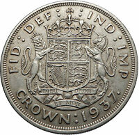 1937 Great Britain United Kingdom w UK GEORGE VI Large Silver Crown Coin i72492