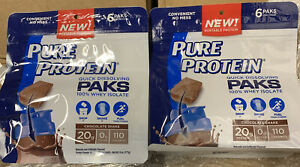 2  /  6 oz bags PURE PROTEIN Quick Dissolving Paks Chocolate Shake Exp 11/20