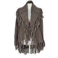 Sioni Womens Sz M Sweater Cardigan Wool Blend Long Sleeve Open Front Fringe