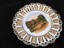 ANTIQUE WHEELOCK GERMAN MADE SOUVENIR CHINA LACE EDGE PLATE FROM WAVERLY IOWA