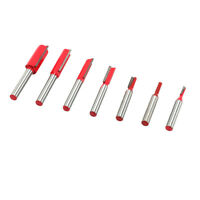 "7Pcs Double & Single Flute Straight Milling Cutter Router Bits Set 1/4"" Shank"