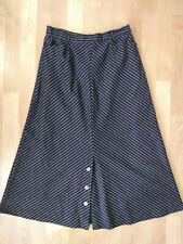 Vintage Handmade A Line Black Chevron Stripe 1940s Style Button Midi Skirt W 29
