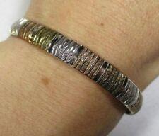 """Vtg Milor Gold Vermeil Sterling Silver Wide Omega Chain Bracelet 7 3/8"""""""