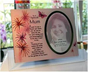 Mum Glass Memorial Photo Frame Inspirational Poem Special Mothers Day Gift New