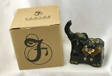 "C5033M2 Fenton 4"" Elephant Box in Black Art Glass * Hand Painted *MINT* NIB"