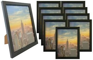Frame Amo 6x8 Black Wood Picture Frame, Glass Front, Wall or Table 1, 3, 10 PACK