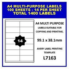 100 SHEETS A4 LASER INKJET COPIER ADDRESS LABELS - 14 PER SHEET - 1400 LABELS