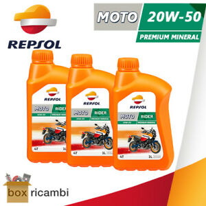 3 LITRI OLIO MOTORE MOTO 4T REPSOL RIDER 20W50 MINERALE MOTORE 4 TEMPI