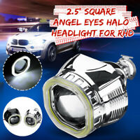 """2.5"""" Square Angel Eyes Halo DRL HID Bi-xenon Projector Lens Headlight Kit Right"""