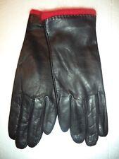 Ladies RED Angora/Lambswool Lined Genuine Leather Gloves,Black,M