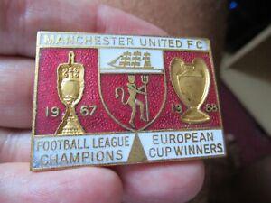 FOOTBALL BADGE MANCHESTER UNITED LEAGUE & EUROPEAN CHAMPIONS 1967-68 COFFER