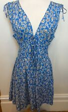 FLEUR WOOD Sky Blue Flower Print V-Neck Shirred Tie Waist Cotton Sundress 1 (8)