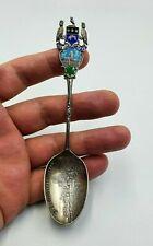 Antique Silver Enamel Pro Rege et Lege Kirkstall Abbey Leeds Spoon,L&S Bir 1902