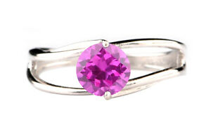 925 Sterling Silver / 1.70Ct Round Cut AA Natural African Pink Tourmaline Ring