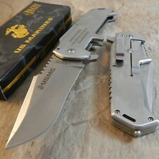 USMC MARINES Warlord SATIN Folding Blade Rescue Pocket Knife Glass Breaker NEW