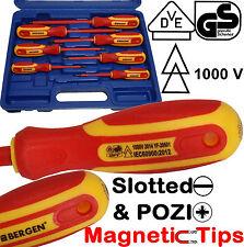 Bergen VDE 1000v Insulated Electricians Screwdriver Set Magnetic Pozi Slott Tips