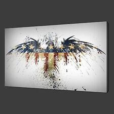 "American Eagle Flag DESIGN MODERNO casella immagine tela stampa 20 ""x16"" gratis UK P & P"