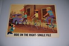 """1966 DISNEY BICYCLE SAFETY RIDE ON THE RIGHT SINGLE FILE 18""""X13"""" 102-G MINNIE"""