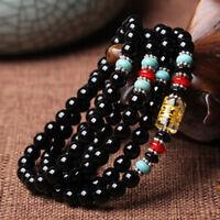 6mm Natural Black Agate Tibet Buddhist 108 Prayer Beads Mala Necklace/ Bracelet
