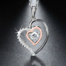 925 Sterling Silver Cubic Zirconia Double Heart Pendant Necklace Fashion Jewelry