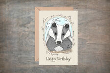 Badger Greetings Card & Envelope - Happy Birthday Badger Woodland Baby Animal