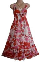 Lovely Floral  Printed Pink Blue Sumner Maxi Dress Size 8 10 12 14 16 18 20