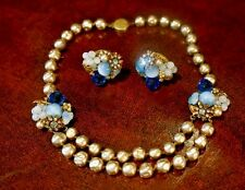 Miriam Haskell Necklace and Earrings Set Baby Blue ? Frank Hess Baroque Pearls