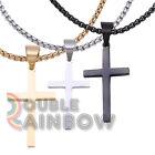 Men Stainless steel Plain Gold Silver Black Cross Pendant Necklace Chain Link#30