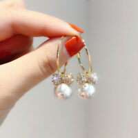 Bowknot 925 Silver Gorgeous A Pair Earrings White Pearl  Drop  Women Crystal