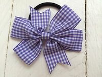 """Back to school lilac gingham /& white glitter 4/"""" Hair Bow bobble"""