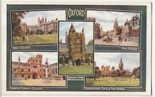 Oxford; Colleges & High St Multiview RP PPC By J Salmon, c 1920's