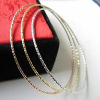 Au750 3 PCS Solid 18K Gold Dimond Cut Round Bangle / Size 60mm 4-4.5g